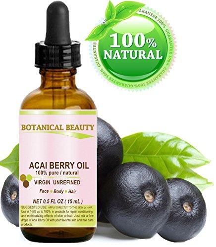 ACEITE DE LA BAYA DEL ACAI. Planchado en frío puro / Natural 100% de aceite portador. 0.5 fl.oz-15 ml. Para la piel, cuidan de pelo, labios y uñas.