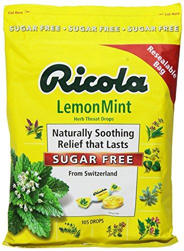 Ricola bolsa azúcar libre limón menta tos gotas grandes, 2 bolsas de 105 gotas