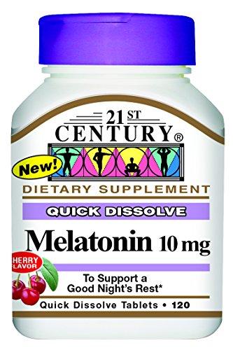 siglo XXI melatonina rápida disolver tabletas, Cherry, 10 mg, 120 cuenta