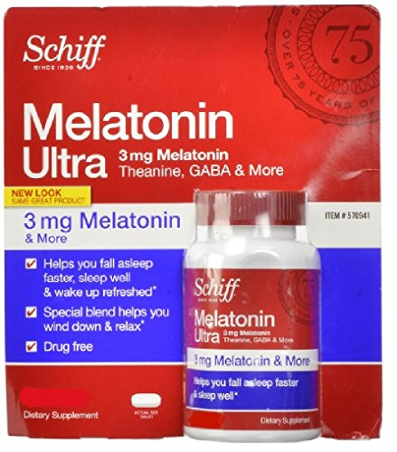Schiff melatonina Ultra 365 tabletas Melatonina 3mg + 25mg L-teanina + GABA 25mg + manzanilla y extractos de valeriana