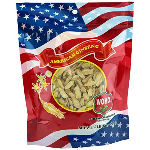 WOHO Ginseng americano 125.8 rebanada pequeña bolsa 8oz
