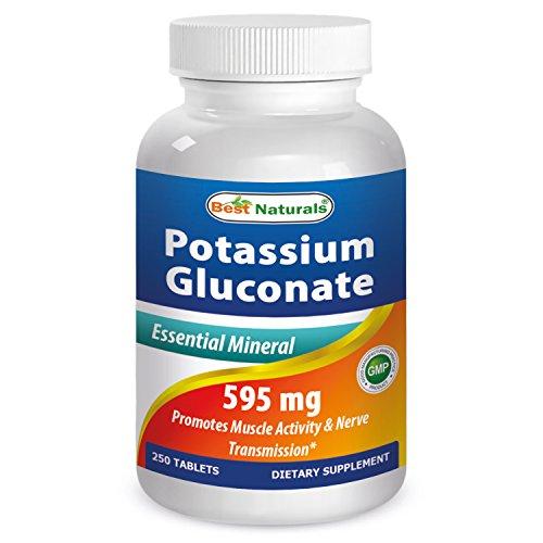 Potasio gluconato 595 mg 250 comprimidos por los mejores productos naturales - Mineral esencial - fabricado en un E.e.u.u. base certificada GMP y FDA inspeccionan instalaciones y tercero ha probado su pureza. Garantizado!!!!