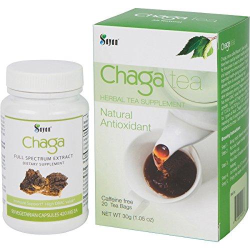 Siberiano silvestre cosechado Chaga extracto cápsulas y té de Chaga, 90 cápsulas vegetarianas y caja de té