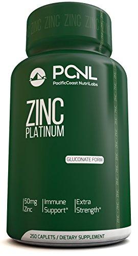 PacificCoast NutriLabs 50mg gluconato de Zinc (quelatado) suplemento, mejor para el acné y apoyo inmune de refuerzo, fácil de tragar para los niños y niños, Ebook gratis, 250 comprimidos, con un 100% vacía botella garantía de reembolso