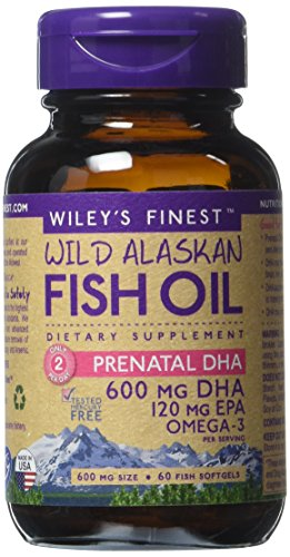 Wiley de - aceite de pescado salvaje de Alaska: Prenatal DHA DHA - Omega 3 suplemento - de 600mg 60 cápsulas