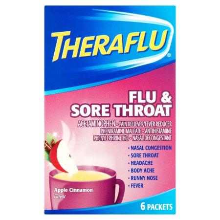 Theraflu gripe y Medicina dolor de garganta manzana y canela Sabores Hot polvo líquido de paquetes 6 recuento