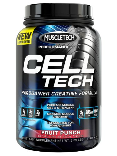 MuscleTech Cell Tech, creatina Hardgainer fórmula, Fruit Punch, 3,09 libras (1.4 kg)