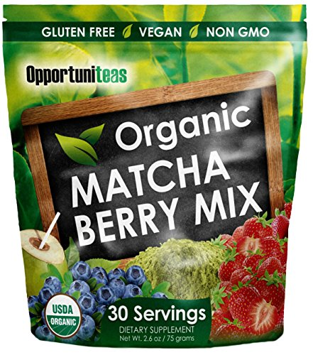 Mezcla de bebida de baya de Matcha orgánico | Té verde Matcha, fresa, arándano + agua de coco | Suplemento en polvo antioxidante | Sin gluten, Vegano + no GMO | 30 porciones