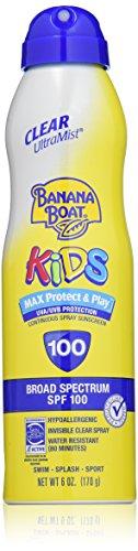 Los niños Banana Boat UltraMist MAX proteger y jugar claro Spray protector solar SPF 100: 6 OZ