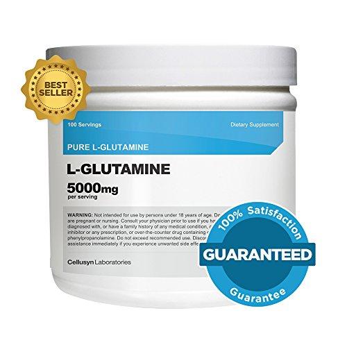 Cellusyn L-glutamina en polvo [500 G] - glutamina pura - 5000mg por porción - 1,1 libras - 100 porciones - máxima pureza