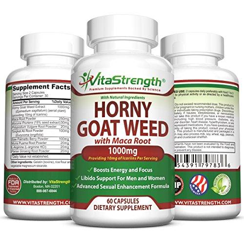 Premium Horny Goat Weed con femenino y masculino mejora hierbas - fórmula completa de Horny Goat Weed Extracto de raíz de Maca, Ginseng, Saw Palmetto y Tongkat Ali - Horney Goat Weed Libido ayuda