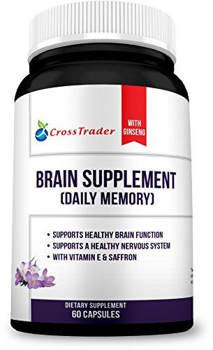 Extracto de cerebro natural suplemento Boosters - azafrán puro, rojo coreano Ginseng y Bacopa Monnieri salud fórmula con alimentos naturales del cerebro - niebla de apoyo, pérdida de memoria, función cerebral alfa y foco - - 60 Caps