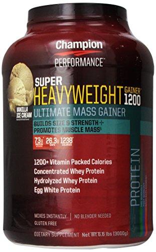 Nutrición Super Heavyweight Gainer 1200 último masa Gainer, helado de vainilla, 6,6 libras el campeón