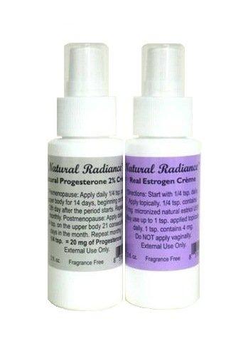 Pack de Estro natural Radiance = dos botellas de 2 onzas con gran medida bomba - una progesterona y un estrógeno/Estriol-2 menopausia Natural productos en un solo paquete - para viajar en avión.