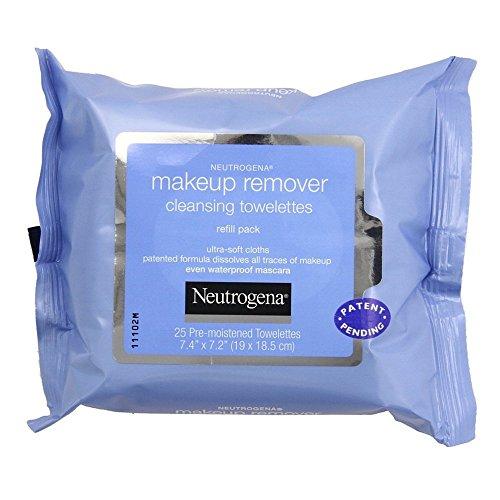Removedor de maquillaje de Neutrogena limpieza toallitas húmedas, 25 ct, Pack 2