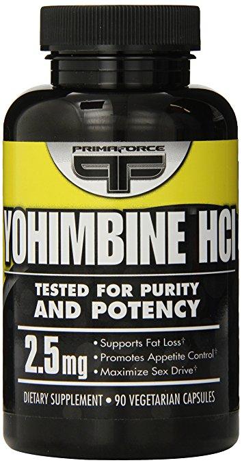 Primaforce 2,5 mg de yohimbina HCl peso pérdida vegetariana cápsulas, cuenta 90