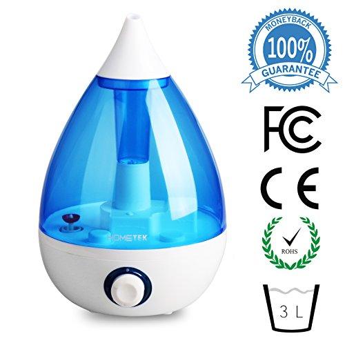 Humidificador ultrasónico con 3 litros de agua, vapor frío humidificador 360 grados boquilla giratoria azul