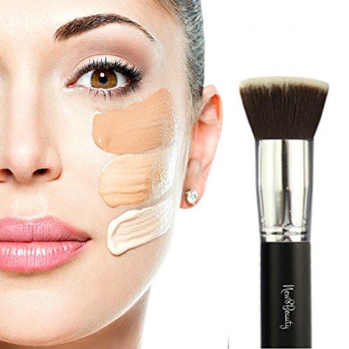 Mejor Fundación cepillo Flat Top Kabuki sintética cara cepillo aplicador Blender - gran para líquidos, cremas, contorno, polvos, maquillaje en polvo Mineral, translúcido - impecable con aerógrafo aplicación - cerdas sintéticas - Vegan Friendly - por New8B