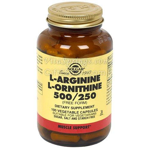 Solgar - L-arginina L-ornitina 500/250, 100 cápsulas vegetales