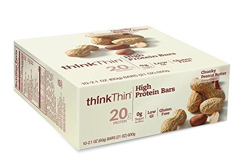 thinkThin barras de alta proteína, mantequilla de maní Chunky, 2,1 onzas (paquete de 10)