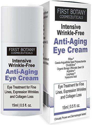 Primera botánica cosmecéuticos intensivo arrugas gratis ANTI envejecimiento crema de ojos con Argireline ®, Fiflow ® y otros potentes péptidos antiarrugas, 15 ml