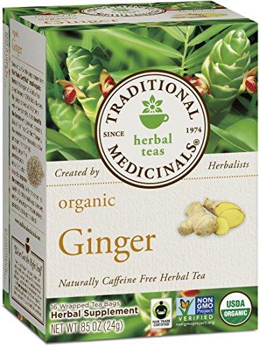 Té de jengibre orgánico medicinales tradicionales, 16 bolsas de té (paquete de 6)