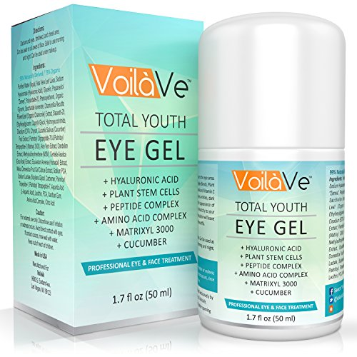 Total de jóvenes en Gel del ojo - mejor crema contorno de ojos para ojeras, bolsas y arrugas - tratamiento efectivo para las patas de gallo, líneas finas y ojo bolsas - con ácido hialurónico y pepino - 1.7 fl. oz.