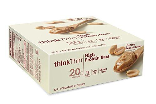 thinkThin barras de alta proteína, mantequilla de cacahuete cremosa, 2,1 onzas (paquete de 10)