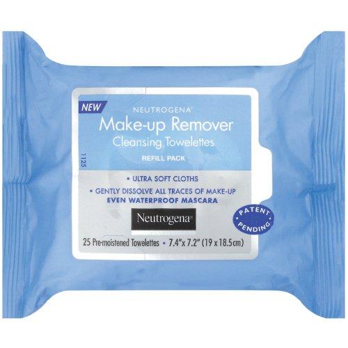 Removedor de maquillaje de Neutrogena limpieza toallitas húmedas, paquete de repuesto, cuenta 25