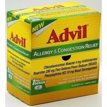 Alergia de Advil y alivio de la congestión 200mg dolor para aliviar fiebre reductor: 50 paquetes de 1 recubierta tableta - Tj18