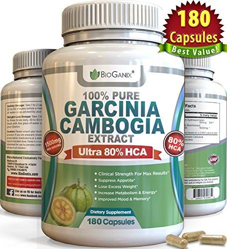 #1 clasificado 80% HCA puro Garcinia Cambogia extracto (180 cápsulas) mejor Ultra potente probada fórmula pérdida de peso suplemento, terceros laboratorio probado para la pureza y potencia (3000mg por día, 1500mg por porción)
