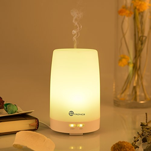 TaoTronics esenciales aceite difusor humidificador ultrasónico Portable de Aromaterapia difusor, difusor de Aroma con fresco de la niebla y Color cambiantes luces de LED, botones de silencio, 100ml