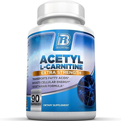 BRI nutrición acetil carnitina - cuenta 90 cápsulas de 500mg - 1000mg porciones