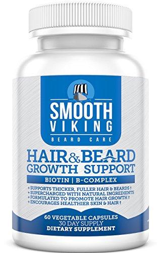 Pelo y barba crecimiento apoyo - de los hombres vello Facial suplemento - 5000 MCG de biotina - vitaminas A, C - DHT bloqueador anticaida - uso con Viking suave barba aceite, bálsamo, acondicionador - 60 cápsulas