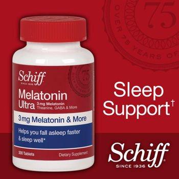 Schiff melatonina Ultra. 300 comprimidos. Melatonina 3mg + 25mg L-teanina + GABA 25mg + manzanilla y extractos de valeriana
