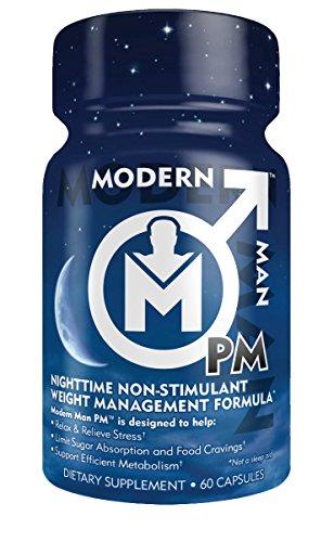 PM de hombre moderno, Premium noche tiempo grasa fórmula quemador y sueño y relajación, estrés socorro (mente clara) y la pérdida de grasa libre de estimulantes para la calidad del sueño mejora, mejor físico y recuperación, 60 cápsulas