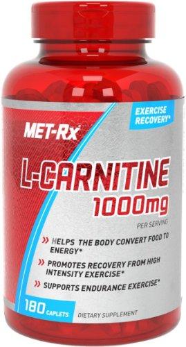 MET-Rx L-Carnitine 1000mg cápsulas de suplemento de dieta, cuenta 180