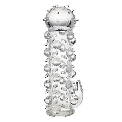 Glande de pene lobo diente cristal transparente manga cubierta condón JA216 #D1