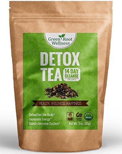 Té de desintoxicación orgánica - 14 días limpiar - pérdida de peso saludable Control del apetito Natural + alternativa + aumenta metabolismo - verde raíz Wellness