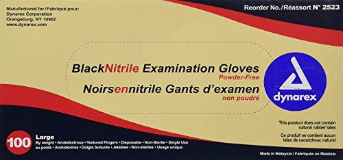 Guantes de examen de nitrilo Dynarex 2523, grandes, negro (paquete de 100)