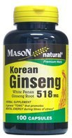 Mason Natural cápsulas de Ginseng coreano raíz de Ginseng Panax blanco de 518 Mg - 100 Ea