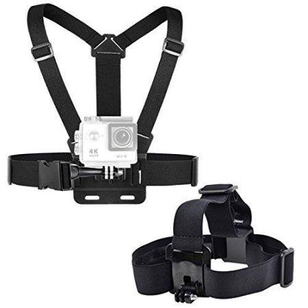 EEEKit 2en1 Kit de accesorios deportivos para GoPro Hero 5 4 3 3 + LCD de la cámara CX ACTIVEON SpyPoint Xcel acción, Correa para la cabeza en el pecho del montaje + correa de la empuñadura Monte
