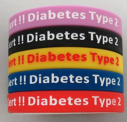 Tipo 2 Diabetes pulseras silicona médica alerta Wristbands(5 pack) azul, amarillo, rojo, negro y rosa. Tamaño adulto.