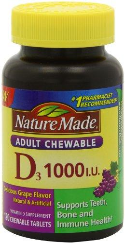 Naturaleza D masticable adultos 1.000 U.I. tabletas, uva, cuenta 120