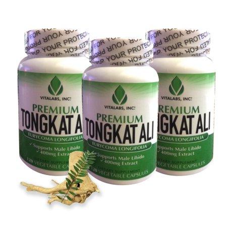 Tongkat Ali Extract - superiores naturales de testosterona Booster, 400 mg Potente - píldoras masculinas del realce natural de soporte baja T, la libido, la masa muscular magra, el bienestar general 180 Vcaps, 3 Botella
