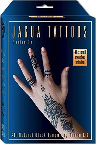 Tatuaje temporal negro orgánico de Jagua y Kit de pintura del cuerpo. Seguro para los niños y en los Estados Unidos. Suficiente Gel de Jagua para diseños y aplicaciones 12-15 1-2 semanas.