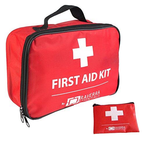 Premium de primeros auxilios para coche y casa de Raverra - 268 PC incluyendo martillo de emergencia, máscara de CPR, manta, tijeras de Metal y hielo compresa