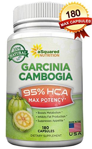 180 cápsulas de fuerza máxima de 100% - 95% HCA Garcinia Cambogia puro extracto - HCA, píldoras de suplemento de pérdida de peso extrema, apetito Suppressant XT, Slim bloqueador de carbohidratos, diurético, recomienda el Dr TV