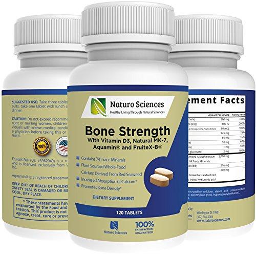 Resistencia ósea de calcio por Ciencias de la Naturo, contiene vitamina D3, FruiteX B ®, Aquamin ®, MK-7, bromelina, magnesio y 74 minerales - ósea y densidad del tejido, 120 tabletas