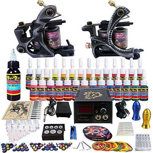 Solong Tattoo® completa tatuaje Kit 2 ametralladoras Pro 28 tintas poder fuente pie Pedal agujas Grips Tips TK224